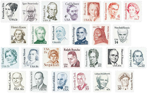 U.S. Stamps in Commemorative Year Sets and Definitive Sets